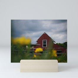 Red Barn Beyond the Wildflowers Mini Art Print