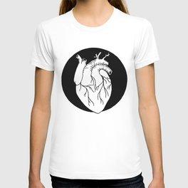 Heart in black circle T-shirt