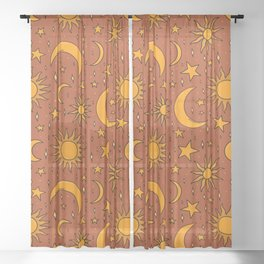 Vintage Sun and Star Print in Rust Sheer Curtain