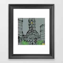 Little City Hall Sketch Framed Art Print