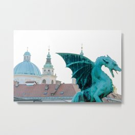 Dragon Bridge Llubljana Slovenia Metal Print