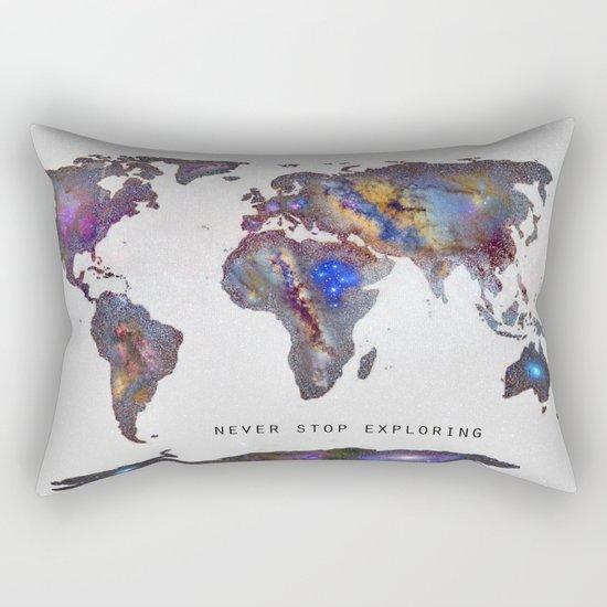"""""""Star map. Never stop exploring...II"""". World map. Rectangular Pillow"""