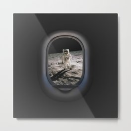 Buzz Aldrin Walk Moon Airplane Porthole Hublot View Art Metal Print