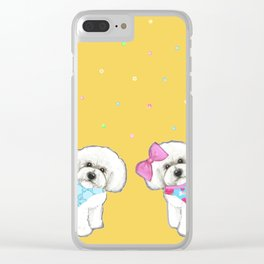 Bichon Frise Holidays yellow cute dogs, Christmas gift, holiday gift, birthday gift, dog, Bijon Clear iPhone Case