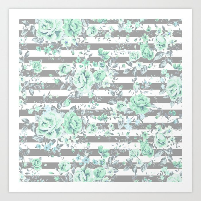 MINT FLORAL GRAY STRIPES SPRING Kunstdrucke