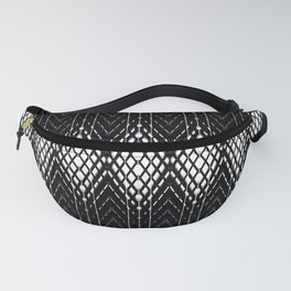 Geometric Black and White Diamond Scales Pattern Fanny Pack