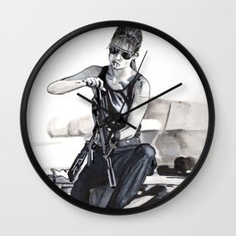 Sarah Connor Cleaning Her Gun Wall Clock