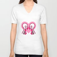 mouth V-neck T-shirts featuring Mouth To Mouth (Lesbian) by Eat Yr Ghost