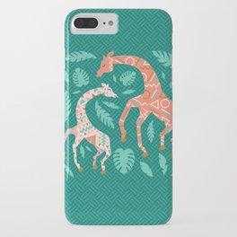 Pink Dancing Giraffes on Teal Green iPhone Case