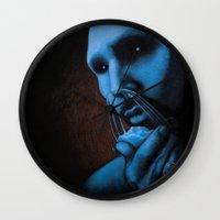 cocaine Wall Clocks featuring Cocaine Blue by Michal Szyksznian