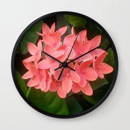 Red Rubiaceae Flower Wall Clock