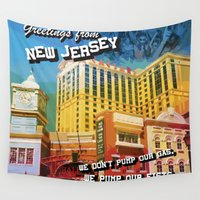 postcard Wall Tapestries featuring New Jersey Postcard by MLauxDesign