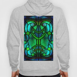 Green and Aqua Art Nouveau Stained Glass Art Hoody
