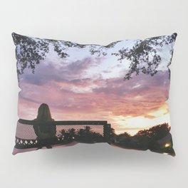 Girl on Bench Sunset Pillow Sham