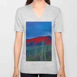 Green Cactus Field In The Desert With Red Mountains Blue Grey Sky Landscape Photography Unisex V-Neck