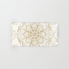 Stylish boho hand drawn golden mandala Hand & Bath Towel