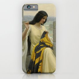"Edmund Blair Leighton ""Stitching the Standard"" iPhone Case"