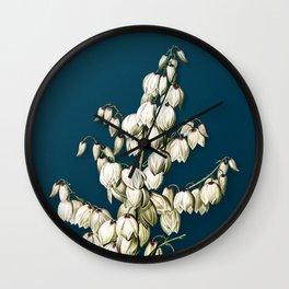 Vintage Aloe Yucca Botanical Illustration on Teal Wall Clock