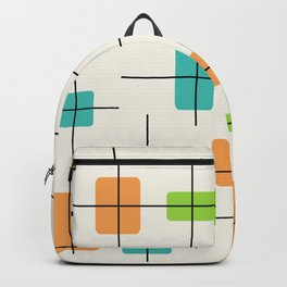 Rounded Rectangles And Squares Orange Turquoise Chartreuse Backpack