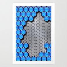Blue Metallic Scale Art Print