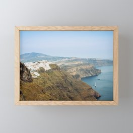 The beautiful white village of Fira, Santorini, Greece. Framed Mini Art Print