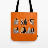oitnb Tote Bags featuring I Heart You OITNB by Vauseman Addict