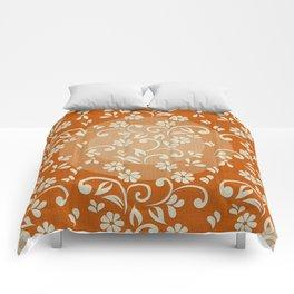 """""""Beige Flowers & Orange Texture"""" Comforters"""