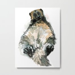 Sleepy Gulo gulo watercolor Metal Print
