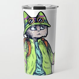 Green Kitty Hiker Travel Mug