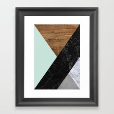 Mint Marble Wood Framed Art Print