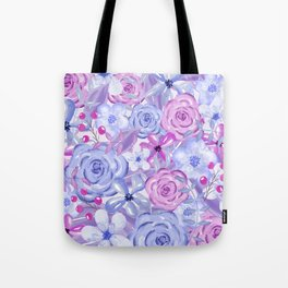 Watercolor Flowers Purple and Blue Tote Bag