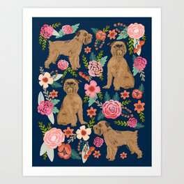Brussels Griffon florals portrait for dog lovers custom pet friendly gifts for all dog breeds Art Print