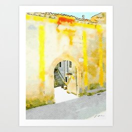 Tortora glimpse of the entrance wall to the nobiliar building Art Print