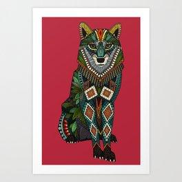 wolf red Art Print
