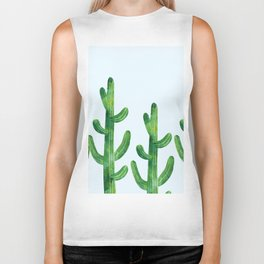 Cyan blue - field of cacti Biker Tank