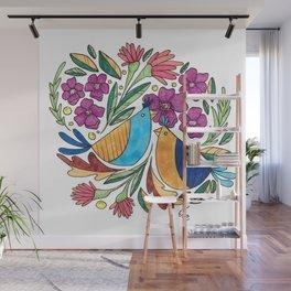 Birds & flore Wall Mural