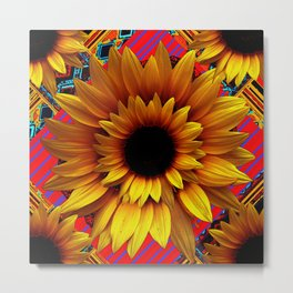 ANTIQUE GOLDEN SUNFLOWER RED MODERN ART Metal Print