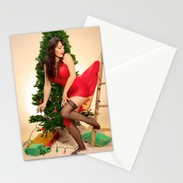 """Tree Trouble"" - The Playful Pinup - Christmas Tree Pin-up Girl by Maxwell H. Johnson Stationery Cards"