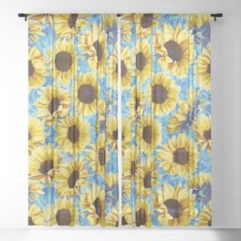 Dreamy Sunflowers on Blue Sheer Curtain