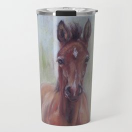 Baby Horse, Foal in the spring meadow, Cute Horse portrait Pastel drawing Travel Mug