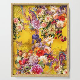 Seamless background with beautiful flowers and leaves. spring summer background Serving Tray