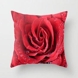 Red Swirl Rose Throw Pillow