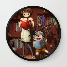 Reading Among Drawers Wall Clock