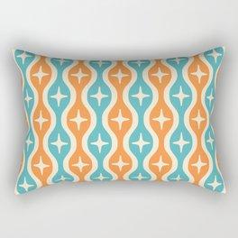 Mid century Modern Bulbous Star Pattern Orange and Turquoise Rectangular Pillow