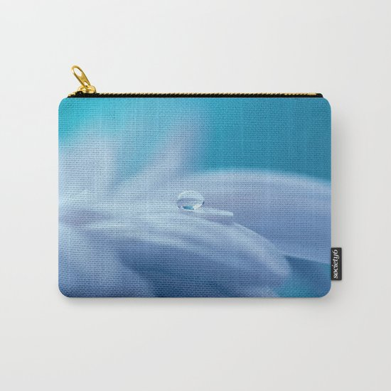 Lonely droplet on a daisy in blue  on #Society6 Carry-All Pouch