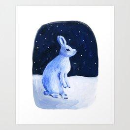 Bunny In Winter Art Print