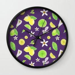 Yellow Green Lemon and Azahar Flower Wall Clock