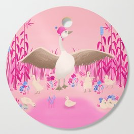Mommy goose and her little goslings Cutting Board