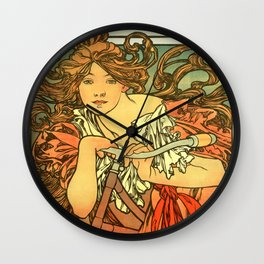 "Alphonse Mucha ""Cycles Perfecta"" Wall Clock"