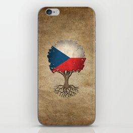 Vintage Tree of Life with Flag of Czech Republic iPhone Skin